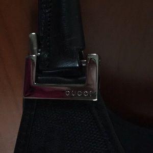 Gucci Bags - Gucci Canvas Bardot Jackie-O Black Hobo Handbag